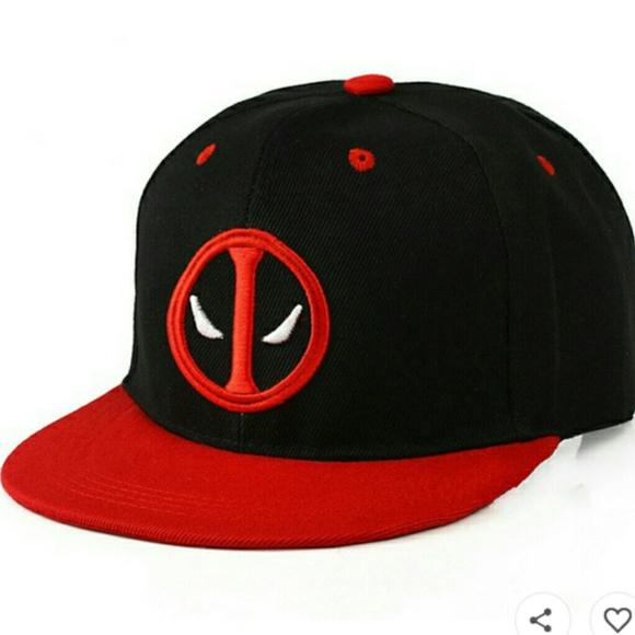 6cc8443ff Marvel Accessories | Deadpool Ball Cap Black With Red Brim Nwt ...